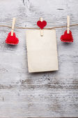 Red felt handmade hearts — Stock Photo