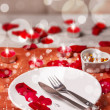 Table setting for valentines day — Stok fotoğraf