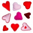 Small felt hearts — Stock Photo