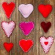 Felt red hearts — Stock Photo