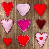 Felt red hearts — Stock Photo