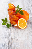 Glass of fruit iced tea — Stock Photo