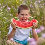 Boy with watermelon — Stock Photo #50450439