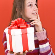 Girl holding a gift — Stock Photo #5127173