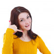 Female doing a call me sign — Stock Photo #9202859