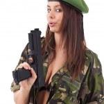 Army girl holding gun — Stock Photo #9579171