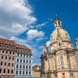Old beautiful houses around the Frauenkirche - Stock Photo