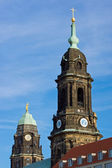 Towers of the Kreuzkirche and Townhall — Стоковое фото