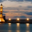 The lighthouse of Chania after sunset — Stock Photo #18008853