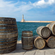 Barrels in the port of Chania - Stock Photo