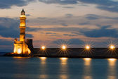 The lighthouse of Chania after sunset — Stock Photo