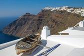 Boat and Imerovigli — Stock Photo