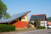 Grange with solar panels — Stock Photo