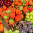 Stock Photo: Strawberries, cherries and grapes
