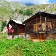 Two traditinal alpine huts — Stock Photo