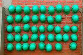 Green construction helmets — Stock Photo