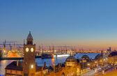 Hamburg harbor after sunset — Stock Photo