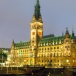 Stock Photo: Hamburgs townhall at night