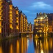 The old Speicherstadt in Hamburg — Stock Photo