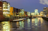 Icy winter night in the Hafencity — Stock Photo