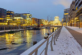 Winter night in the Hafencity — Stockfoto