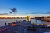 Hamburg harbour after sunset — Stock Photo