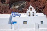 White church and red cliff — Stock Photo