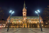 Hamburgs townhall at night — Stock Photo