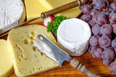 Plate of cheese and grapes — Foto de Stock