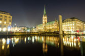 The center of Hamburg at night — Stock Photo