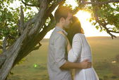 Couple sweethearts under tree — Stockfoto