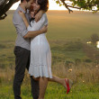 Foto Stock: Two sweethearts kissing under tree on field