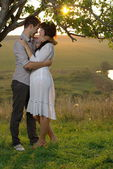 Two sweethearts kissing under tree on field — Stock Photo