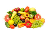 Fruits and vegetables isolated on a white background — Stock Photo