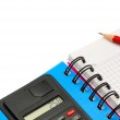 Notebook and calculator — Stock Photo