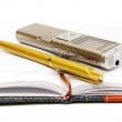 Dictaphone, notepad and ballpen — Stock Photo