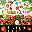 Christmas decorations and candles isolated on white background. — Stok fotoğraf