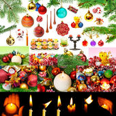 Christmas decorations and candles isolated on white background. — Stock Photo