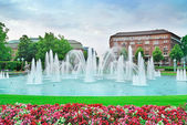 Beautiful fountain in the center of Mannheim Germany — Stock Photo