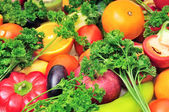 Fruits and vegetables background — Stock Photo