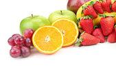 Fresh fruits isolated on a white — Stock Photo