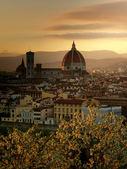 Gouden voorjaar zonsondergang over florence — Stockfoto