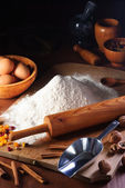 Flour and ingredients — Stock Photo