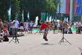 Jumping on roller skates — Stock Photo