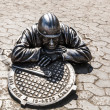 Stock Photo: Sculpture plumber character Omsk