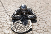 Sculpture plumber character Omsk — Stock Photo