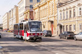 Russian tram on the street — Stock Photo