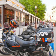 Motorcycles near cafe - Stockfoto