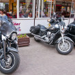 Motorcycles near cafe - Zdjcie stockowe