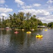 The pond in the summer park. Boating — Stock Photo